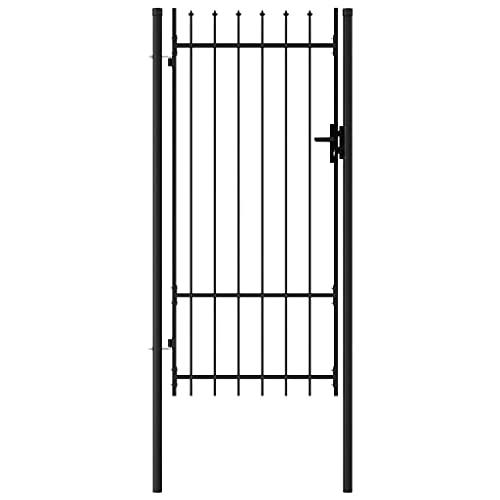 vidaXL Portillon Simple Porte avec Dessus à Pointe Portail de Jardin Porte de Jardin Barrière de Jardin Terrasse Patio Extérieur Acier 1x2 m Noir