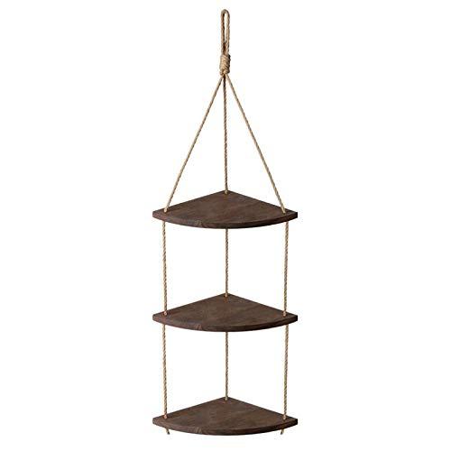 ELT Estantería flotante para pared con forma de abanico de madera, 3 estantes de cuerda de yute para animales, accesorios interiores