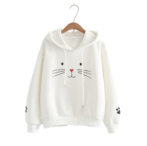 TMOYJPX Sudaderas Mujer Baratas Anchas con Capucha Chica Impresión de Gato, Suéter Top Camiseta Originales...