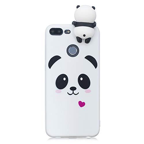Artfeel Niedlich 3D Karikatur Panda Hülle für Huawei Honor 9 Lite, Bunt Schön Tier Muster Weich Silikon Handyhülle,Ultra Dünn Flexibel TPU Bumper Stoßfest Schutzhülle-Weiß