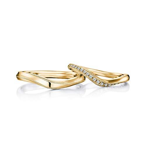 KnBoB 1 Paar Verlobungsringe Verdrehte Diamant 0.12ct 18K Gold Ringe Größe Damen 60 (19.1) & Herren 62 (19.7)