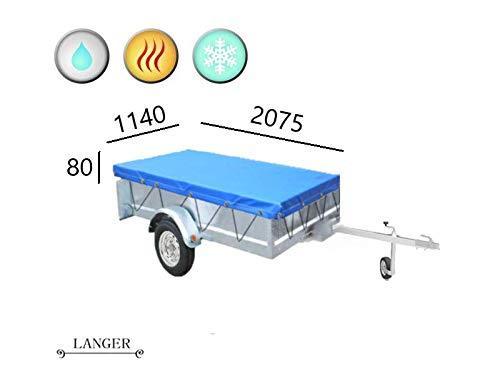 Himaya Anhängerplane Flachplane mit Gummigurt -Stema 2075X1140x80mm blau - PKW Anhänger Abdeckplane für 750kg