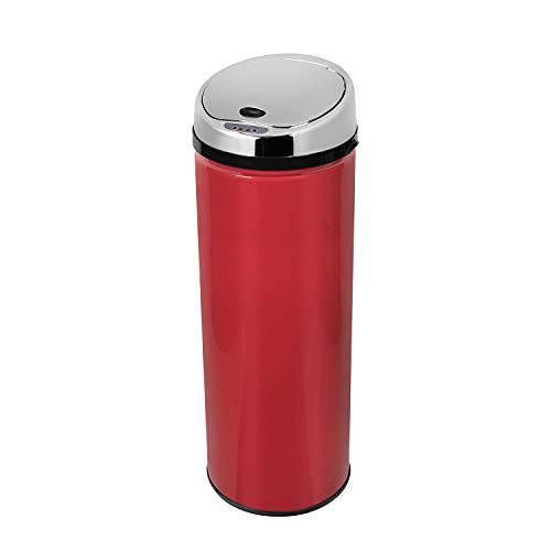 Morphy Richards Chroma Round Sensor Bin with Infrared Technology, Red, 50 Litre