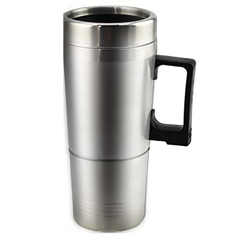 CVBN 12V Voiture Chauffage Tasse Bouilloire électrique Chauffage Thermique Bouteille de café bouillant 450ML, Argent, 12V