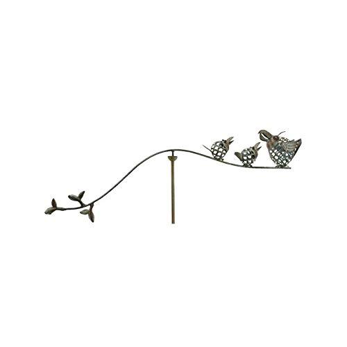 L'Héritier Du Temps klimhulp voor planten, motief Duo papegaaien of tuinmobiel, draaibaar, voor beplanten, van ijzer, gepatineerd, groen, 8 x 78 x 125 cm