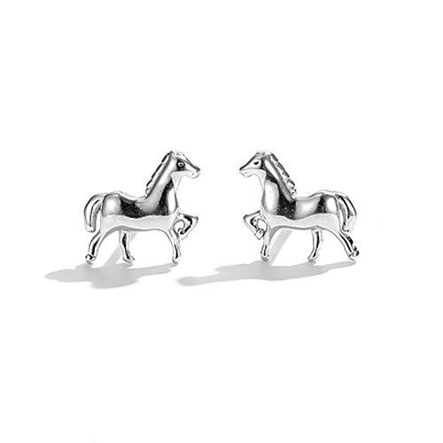 Pendientes de animales de poni de plata de ley 925 para mujer, pendientes pequeños, joyería de plata, regalo