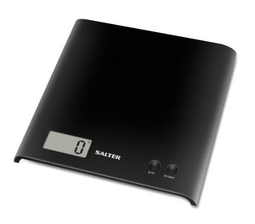 Salter 1066 BKDR15 Báscula de cocina, Ahorro de espacio Fácil de almacenar, Pantalla grande, Función de adición y pesaje más ingredientes en el mismo contenedor, Capacidad 3 kg, Negro