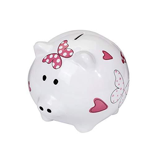 SPOTTED DOG GIFT COMPANY schattig groot spaarvarken XL spaarpot wit keramiek varken piggy bank met roze hart en vlinderrlings geschenk voor meisjes kinderen volwassenen tieners met doos