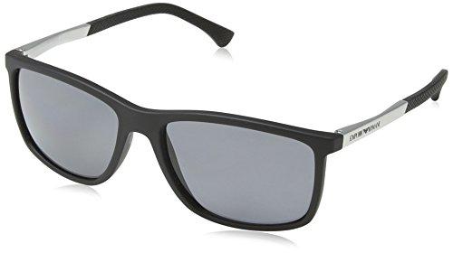 Emporio Armani Unisex 0ea4058 58 Sonnenbrille, Schwarz (Black Rubber 506381), Large (Herstellergröße