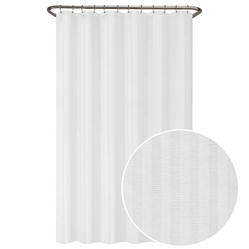 Zenna Home Duschvorhang, wasserdicht, gestreift, 178 x 183 cm, Weiß