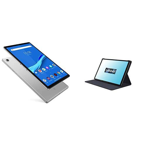 Lenovo Tab M10 FHD Plus 26,2 cm (10,3 Zoll, 1920x1200, FHD, IPS, Touch) Tablet-PC (Octa-Core, 4 GB RAM, 64 GB eMCP, WLAN, Android 9) Silber + M10 FHD Plus (2nd Gen) Folio Case und Schutzfolie schwarz