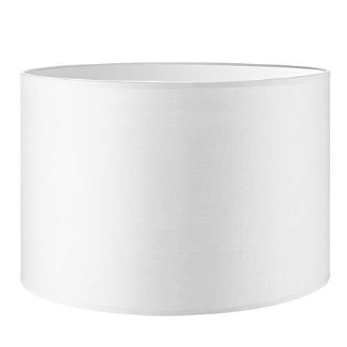 Lampenschirm rund | Bling | Stofflampenschirm | Textilschirm | Baumwolleschirm | Für E27 Fassung | Durchmesser 30cm Höhe 20cm | Rein Weiß | Für alle Innenraumen IP20 | Ohne Leuchtmittel
