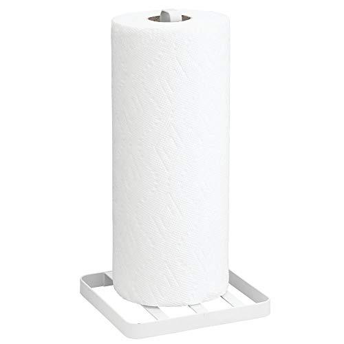 mDesign Portarrollos de cocina sin taladro – Práctico soporte para papel de cocina – Elegante porta rollo de cocina con base – blanco