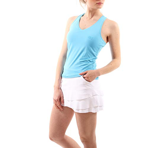 Sportkind Mädchen & Damen Tennis, Fitness, Sport V-Neck Tank Top Racerback, atmungsaktiv, UV-Schutz UPF 50+, hellblau, Gr. 158