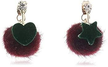 GMXEHUAN Earring High Quality Simple Sweet And Cute Animal Pattern Unique Design Charm Korean New Lovely Ball Star Heart Asymmetric Earrings For Women Fashion Ear Jewelry Drop Earings