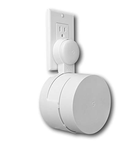 Google WiFi Outlet Holder Mount: [New 2020 – Present Version – Round Plug] The Simplest Wall Mount Holder Stand Bracket for Google WiFi Routers and Beacons - No Messy Screws! (1-Pack)