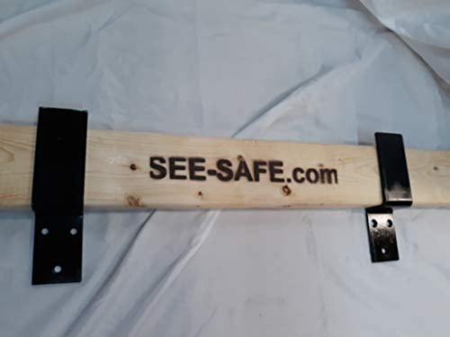 SEE-SAFE Open Bar Holder Barn Door Security Lock Brackets Fits 2x4 Boards 2' Solid Steel 3/16'
