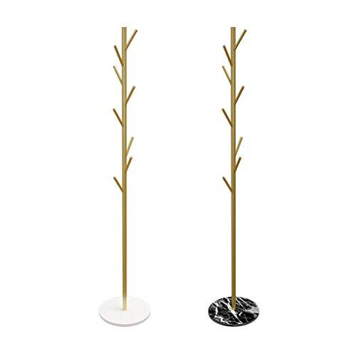 MKVRS Perchero de pie 2pcs nórdica Simple Hierro Perchero mármol Base Planta Permanente Organizador Percha Soporte for Sombreros Bufandas Ropa Bolsos Percheros (Color : B-Gold)