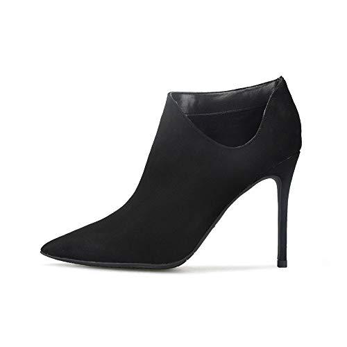 SMSZTYM Bottines Chaudes Automne Hiver Femmes Automne Hiver Chaussures Mode Botte Femme Stiletto Femme Chaussures Talons Bottes Noir
