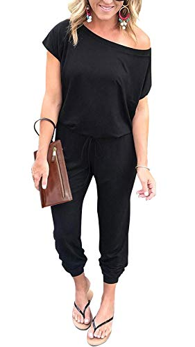 PRETTYGARDEN Women's Loose Solid Off Shoulder Elastic Waist Stretchy Long Romper Jumpsuit with Pockets Black