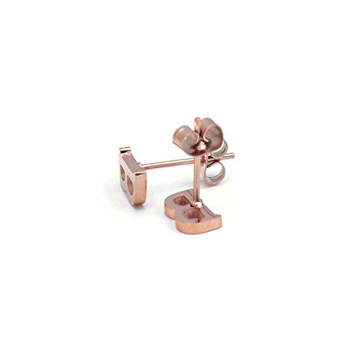 Pendientes de tuerca con forma de letra A de acero y titanio chapado en oro rosa de 14 quilates