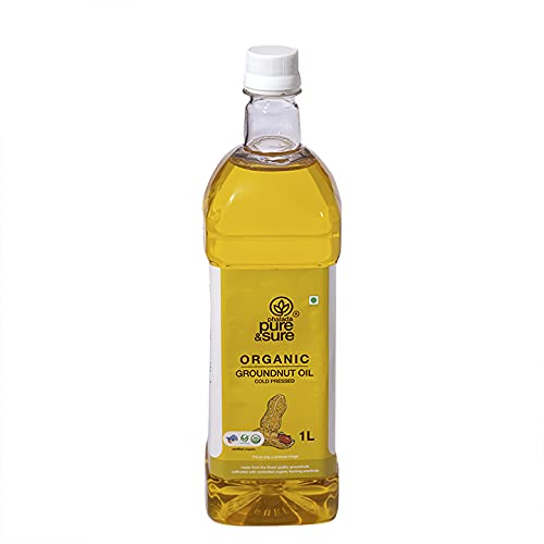 Pure & Sure Organic Groundnut Oil   Healthy Groundnut Oil for Cooking   No Trans Fats, Groundnut Oil 1 Litre