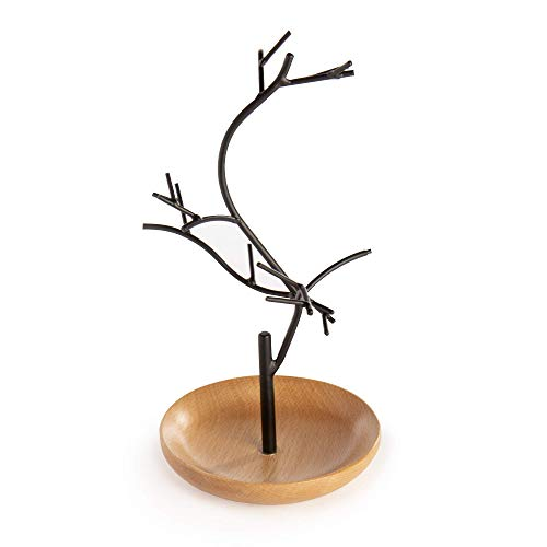 Jewellery Tree | Wooden Jewellery Tree | For Bracelets, Rings and Necklaces | Display Stand | Jewellery Organiser | Ornament Tree Display | M&W