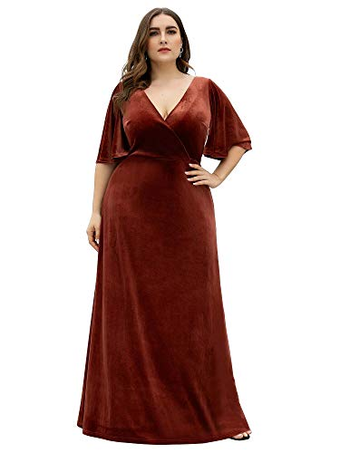 Ever-Pretty Women's Retro Velvet Long Dress Formal Evening Gown Plus Size Prom Dress Maroon US18