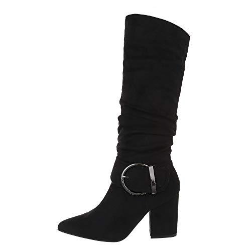 Ital Design Damenschuhe Stiefel High Heel Stiefel Synthetik Schwarz Gr. 39