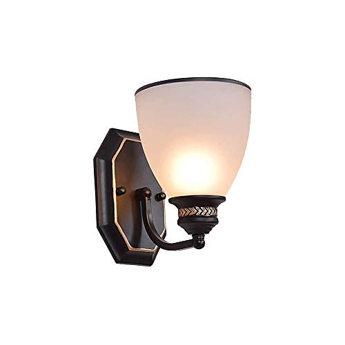 ZZYJYALG Wall Lamp Glass Art Deco Iron E14 Adjustable Waterproof with Lampshade Transparent Base for Bedroom Bedside Children Room Hallway Restaurant Stair Bed Reading Light (Black)