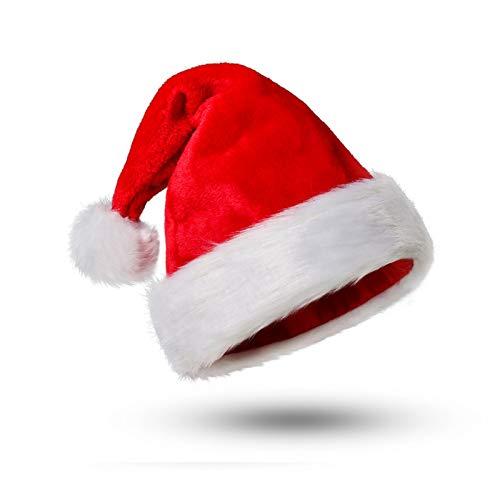 Funhoo Cappello da Babbo Natale Peluche per la Maggior Parte degli Adulti, Cappellini Natale, Cappellino Babbo, Hat Costume Ornaments (1 Pezzo)