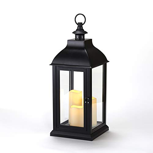 The Lakeside Collection Oversized Battery Powered LED Candle Lantern with Hanging Hook