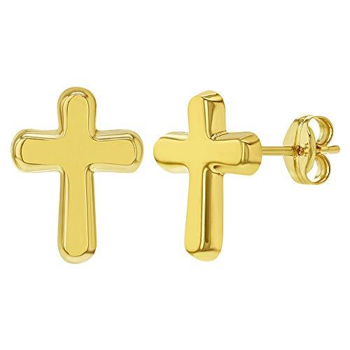 Pendientes de tuerca de cruz religiosa polaca de oro amarillo de 14 quilates para niñas o adolescentes