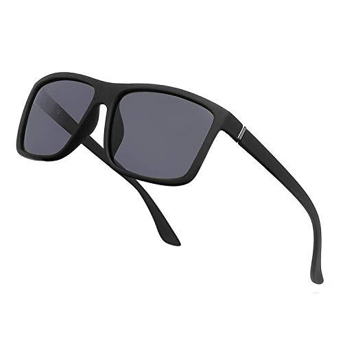 NIEEPA Men#039s Driving Sports Polarized Sunglasses Square Wayfarer Plastic Frame Glasses Grey Lens/Black Frame
