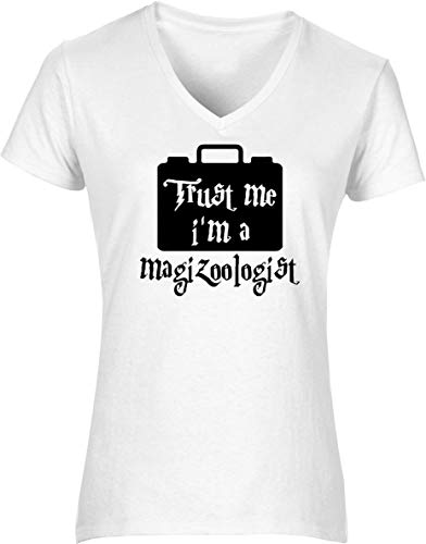 Hippowarehouse Trust me I'm a magizoologist Womens V-Neck Short Sleeve t-Shirt (Specific Size Guide in Description) Fuchsia Pink