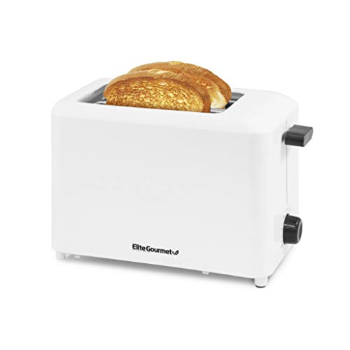 """Elite Gourmet ECT-1027 Cool Touch Toaster with 7 Temperature Settings & Extra Wide 1.5"""" Slots for Bagels, Waffles, Specialty Breads, Puff Pastry, Snacks, UL Certified, 2 Slices, White"""