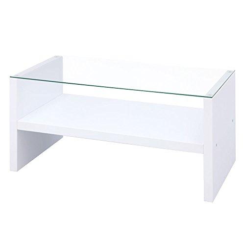 ぼん家具 センターテーブル 幅90cm 強化ガラス 棚付 コレクション ローテーブル 木製 ホワイト