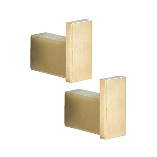WOMAO Bohren 2 Stücke Handtuchhaken, Gebürstet Gold Kleiderhaken Mantelhaken für Hüten Geräter Schlüssel, Wandmontieren Edelstahl Konstruktion Badezimmer Dusche