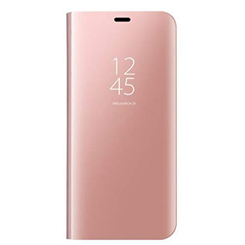 HAOYE Funda para Samsung Galaxy S20+/S20 Plus, Mirror Funda Inteligente, PU PC Flip Soporte Plegable Espejo Enchapado Window View Protectora Carcasa. Oro Rosa
