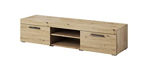 E-com - Meuble TV Armoire Tele Table Television Paris - 140 cm - Chene Apalachi