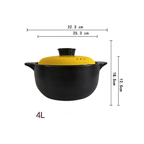HAOT Keramikauflauf, runder schwarzer Tontopf Irdener Topf Chinesisches Kochgeschirr mit Deckel Hitzebeständig für Suppeneintopf-d