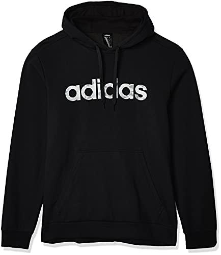 adidas Mens E Camo Lin SWEA Hooded Sweatshirt, Black/White, 2XL