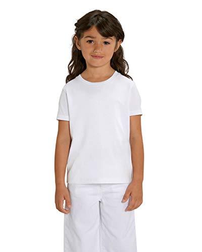 Hochwertiges Kinder T-Shirt aus 100% Bio-Baumwolle für Mädchen und Jungen. Eignet sich hervorragend zum bedrucken. (z.B.: mit Transfer-folien/Textilfolien),Weiß, 152/164