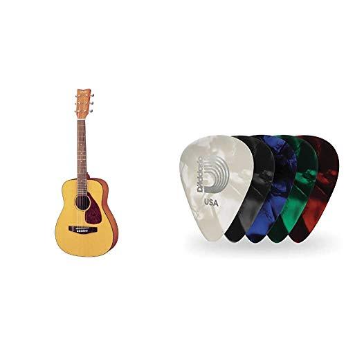 Yamaha JR1 FG Junior 3/4 Size Acoustic Guitar & D'Addario Assorted Pearl Celluloid Guitar Picks, 10 Pack, Medium