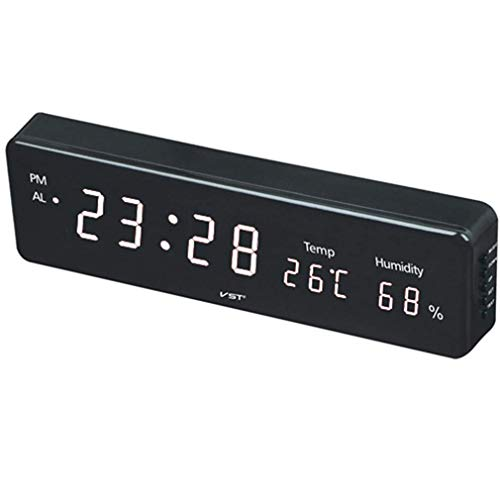 SGSG Reloj de Pared LED Digital, Grande con termómetro e higrómetro Reloj de Pared LED enchufable Reloj Despertador electrónico Pantalla de luz LED Oficina en casa Metro Hospital