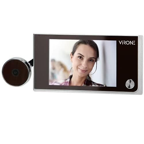 "VIRONE DV-1 Mirilla Digital Lcd 3,5""lente Gran Angular Funciona Con Pilas Plata"