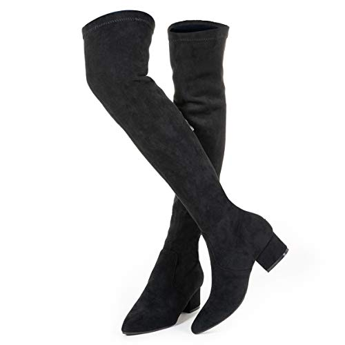 Thigh High Block Heel Boot Women Pointed Toe Stretch Over The Knee Boots (8 B(M) US, Black 2 in)