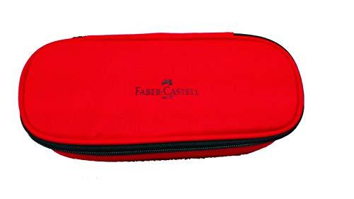 Estuche ovalado Faber Castell rojo baúl con cremallera portabolígrafos
