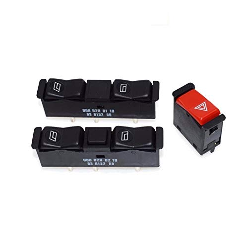 Botonera elevalunas Interruptor del elevalunas eléctrico izquierdo y derecho Amp intermitente de emergencia Interruptor de ajuste for el Mercedes-Benz W122 W123 W128 W126 W201 190 300 380 500 240