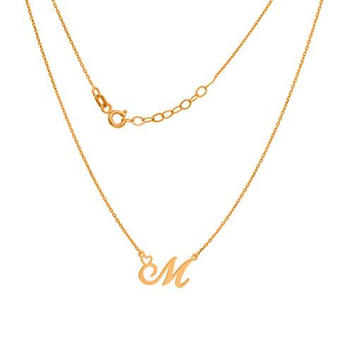 Goldene Damen Halskette 333 8k Gold Gelbgold Kette mit Anhänger Buchstabe M Herz Gravur